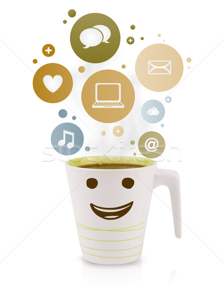 Stok fotoğraf: Kahve · fincanı · sosyal · medya · simgeler · renkli · kabarcıklar · yalıtılmış
