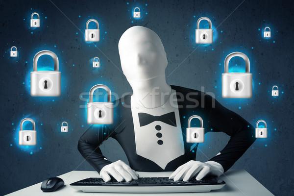 Hacker vermommen virtueel slot symbolen iconen Stockfoto © ra2studio