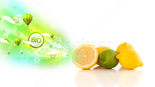 Kolorowy soczysty owoce zielone eco znaki Zdjęcia stock © ra2studio