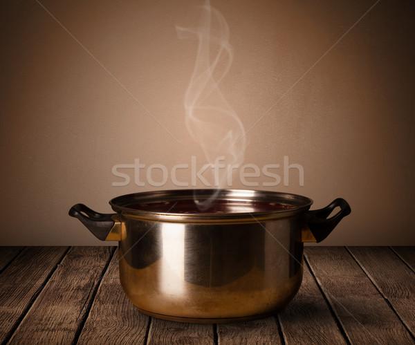 Pot eski ahşap masa ahşap çelik Stok fotoğraf © ra2studio