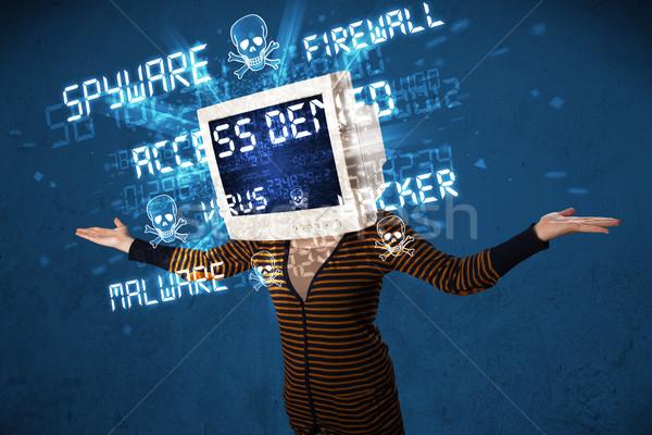 Izlemek kafa kişi hacker tip işaretleri Stok fotoğraf © ra2studio
