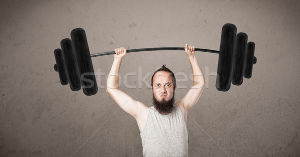 смешные тощий парень весов невероятный Сток-фото © ra2studio