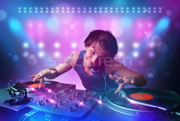 диск-жокей музыку вертушки этап фары молодые Сток-фото © ra2studio