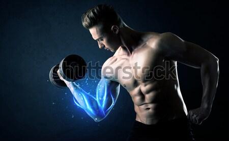 Atraente forte fitness cara peso Foto stock © ra2studio