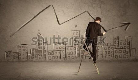 человека рисунок линия город элегантный Сток-фото © ra2studio