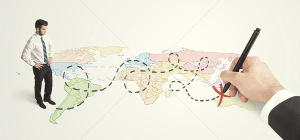 Işadamı bakıyor harita rota el Stok fotoğraf © ra2studio