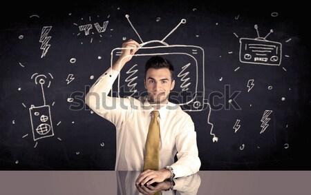 Szczęśliwy biznesmen rysunek telewizja radio elegancki Zdjęcia stock © ra2studio