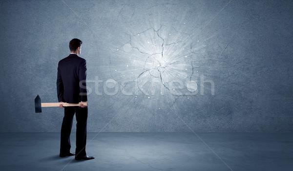 Iş adamı duvar çekiç ofis el Stok fotoğraf © ra2studio