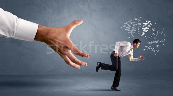 ストレスの多い ビジネスマン を実行して ビッグ 手 ビジネス ストックフォト © ra2studio