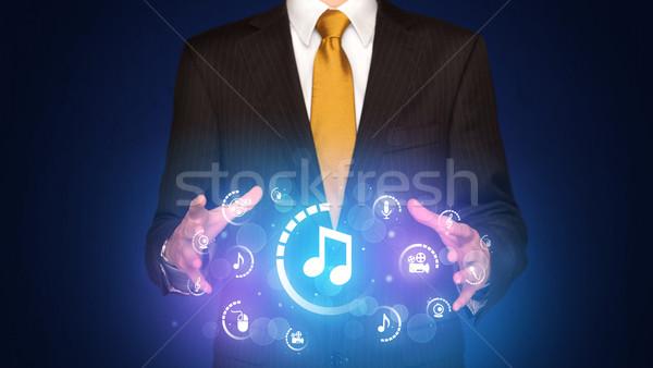 Homme numérique multimédia icônes affaires Photo stock © ra2studio