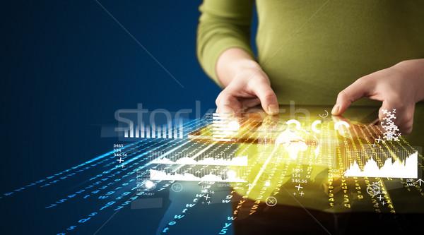 Strony touchpad tabletka działalności rynku Zdjęcia stock © ra2studio