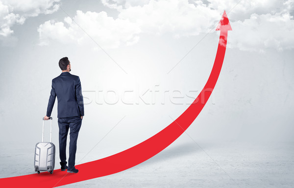 Businessman leaving on the red carpet arrow Stock photo © ra2studio