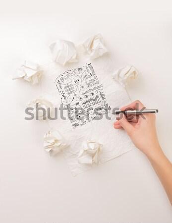 Writing hand in crumpled paper Stock photo © ra2studio