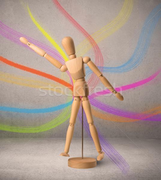 Houten etalagepop kleurrijk lijnen achter werk Stockfoto © ra2studio