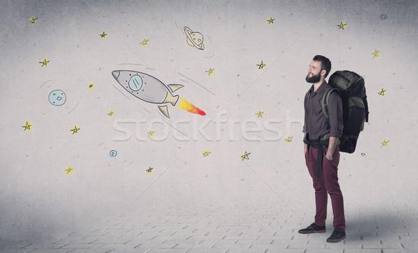 Junger Mann Rucksack gut aussehend stehen Raum Hintergrund Stock foto © ra2studio