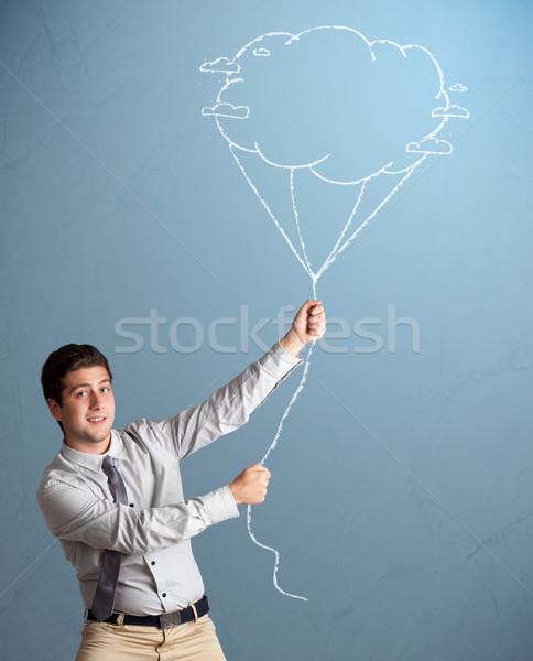 Homem bonito nuvem balão desenho bonito Foto stock © ra2studio