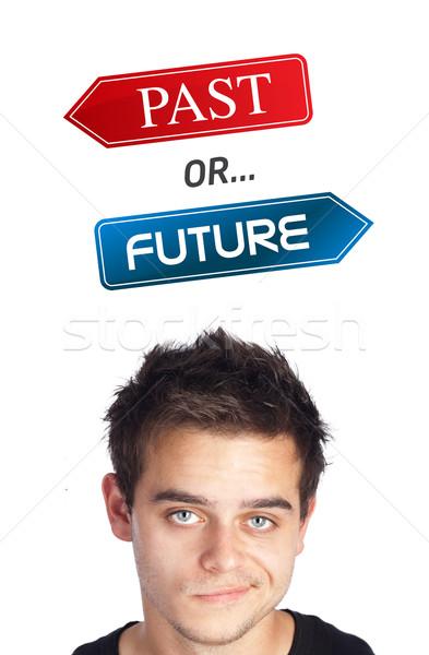 Fiatal fej néz pozitív negatív feliratok Stock fotó © ra2studio