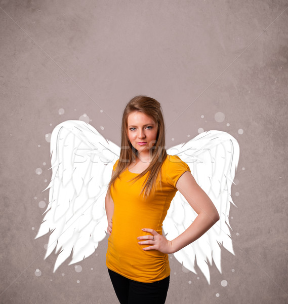 Stock fotó: Aranyos · személy · angyal · illusztrált · szárnyak · koszos