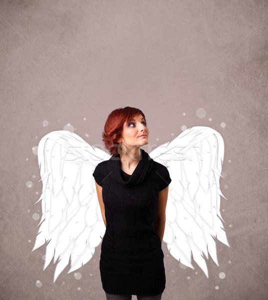 Cute persona angelo illustrato ali Foto d'archivio © ra2studio