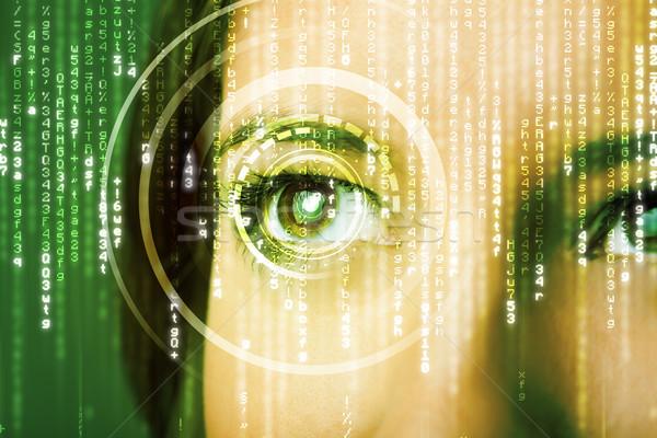 Moderno mulher matriz olho computador internet Foto stock © ra2studio