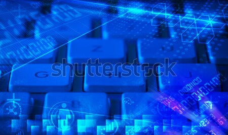 Keyboard with glowing business icons Stock photo © ra2studio