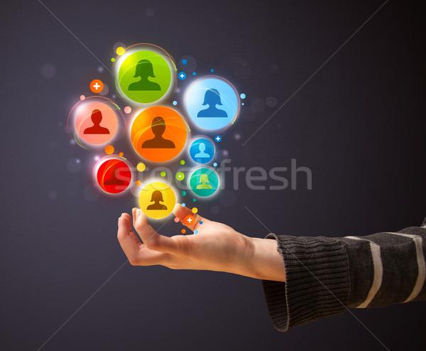 Sosyal ağ simgeler el kadın renkli Stok fotoğraf © ra2studio