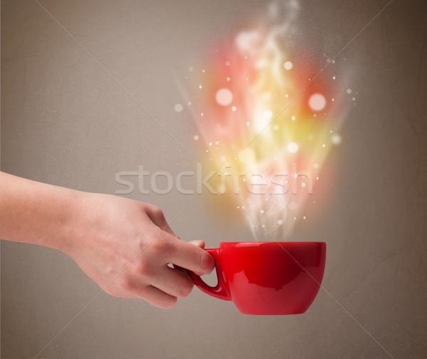 Tazza di caffè abstract vapore colorato luci Foto d'archivio © ra2studio