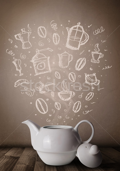 Tea edény kézzel rajzolt konyha kellékek közelkép Stock fotó © ra2studio
