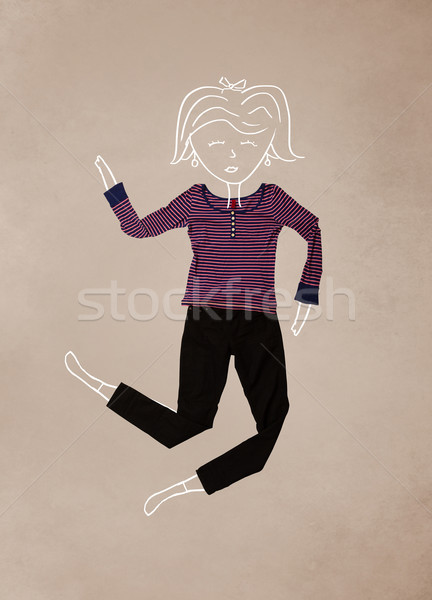 Placed clothes in action with woman drawing Stock photo © ra2studio