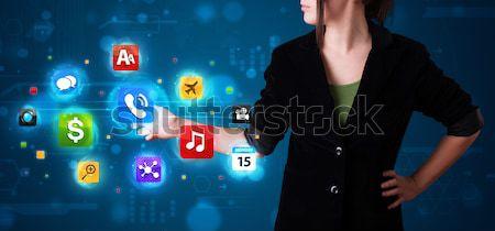 Nő kisajtolás különböző gyűjtemény magas tech Stock fotó © ra2studio