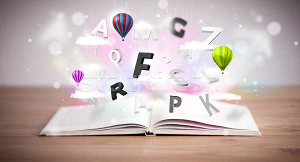 Stockfoto: Open · boek · vliegen · 3D · brieven · beton · kleurrijk