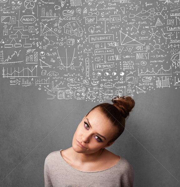 Young woman gesturing with sketched charts above her head Stock photo © ra2studio