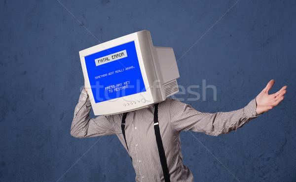 Kişi izlemek kafa hata mavi ekran Stok fotoğraf © ra2studio