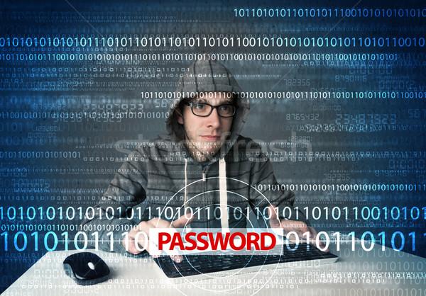 Fiatal stréber hacker lop jelszó futurisztikus Stock fotó © ra2studio