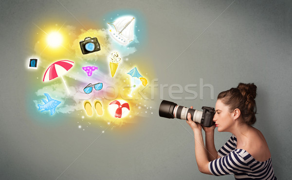 Teenage photographer making photos of holiday painted icons Stock photo © ra2studio