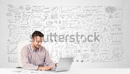 Businessman planning and calculating with various business ideas Stock photo © ra2studio
