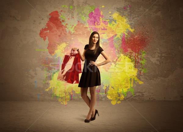 девушки краской Splatter счастливым молодые Сток-фото © ra2studio