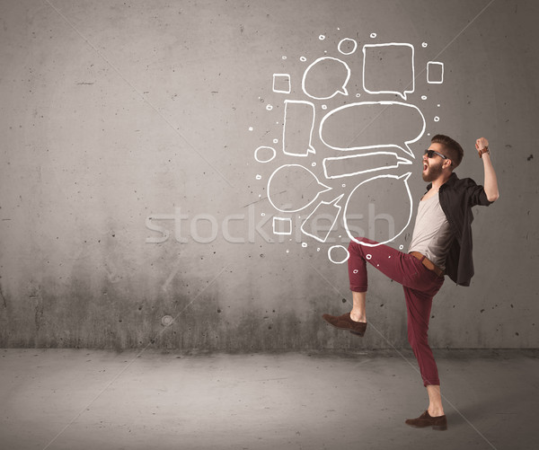 Shouting hipster with empty speech bubble Stock photo © ra2studio