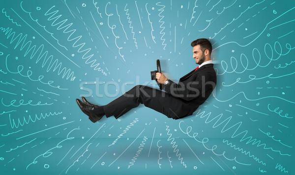 Grappig vent denkbeeldig voertuig lijnen Stockfoto © ra2studio