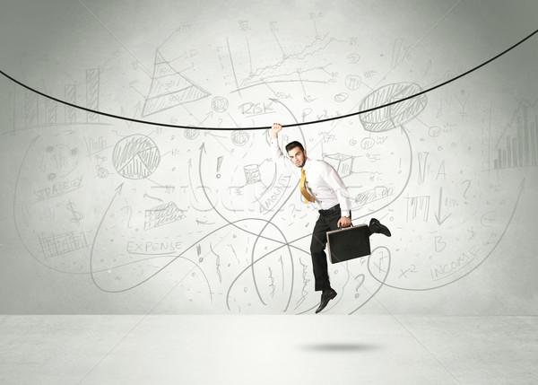 Akasztás üzletember kötél elemzés grafikonok üzlet Stock fotó © ra2studio