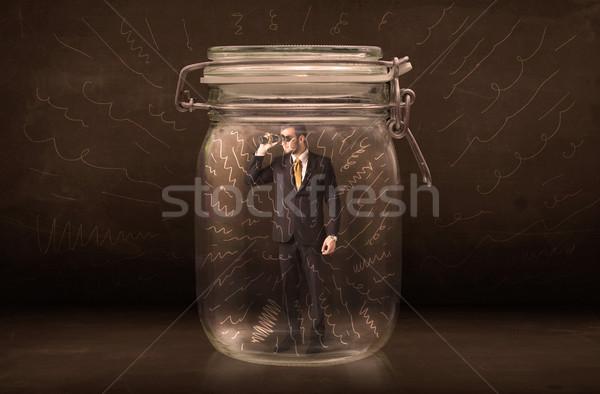 бизнесмен внутри банку мощный рисованной линия Сток-фото © ra2studio