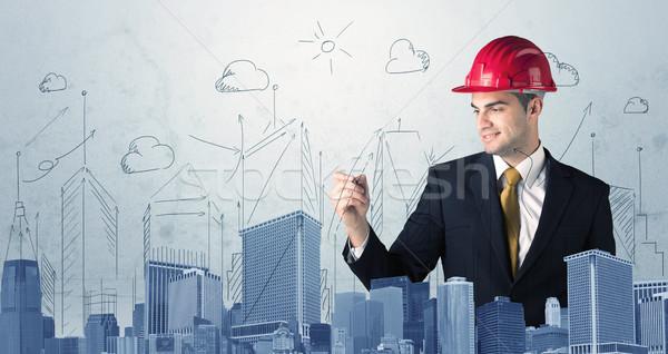 Jovem trabalhador desenho cidade vista arquiteto Foto stock © ra2studio