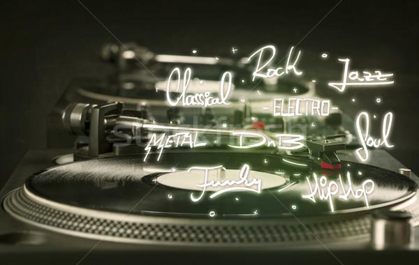проигрыватель виниловых музыку металл пластина черный Сток-фото © ra2studio