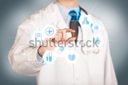 Médico blanco píldora mano ilustrado Foto stock © ra2studio