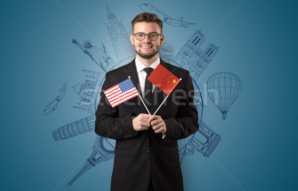Elegante man sightseeing vlag hand business Stockfoto © ra2studio