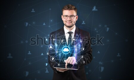 Astronaut looking for inspiration in his crystal magic ball Stock photo © ra2studio