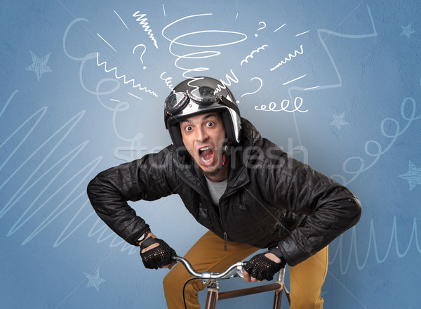 Crazy rider on the bike Stock photo © ra2studio