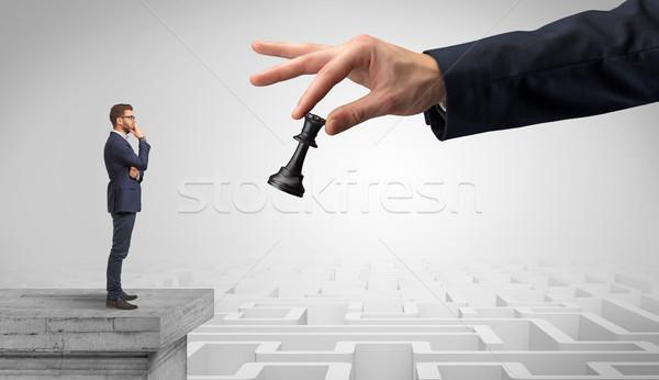 Weinig zakenman top labyrint denken strategieën Stockfoto © ra2studio