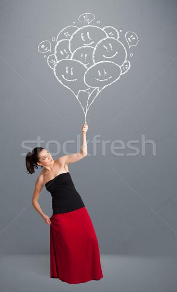 Stok fotoğraf: Mutlu · kadın · gülen · balonlar · çizim