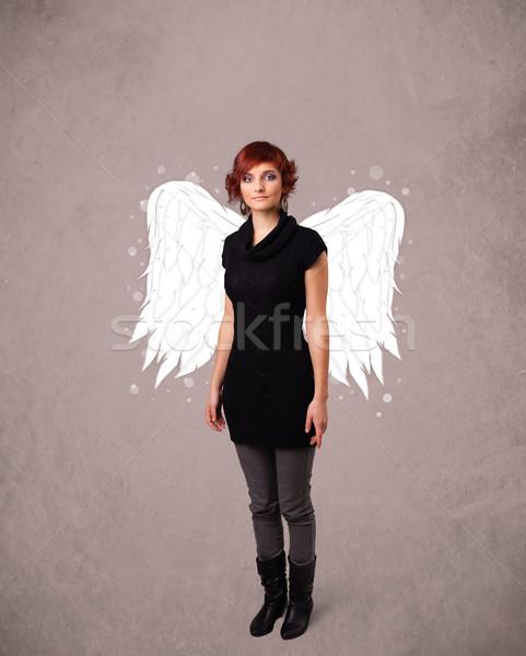 Cute personne ange illustré ailes Photo stock © ra2studio